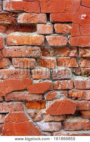 Close-up of old crumbling brick wall texture
