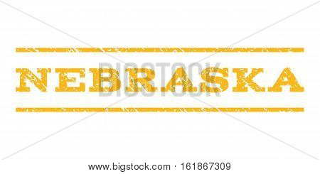 Nebraska watermark stamp. Text tag between horizontal parallel lines with grunge design style. Rubber seal stamp with dust texture. Vector yellow color ink imprint on a white background.