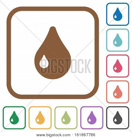 Drop simple icons in color rounded square frames on white background