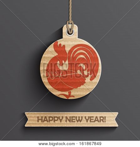 2017 Year of roster on christmas ball with ribbon and text happy new year. Vector illustration.
