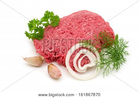 Fresh Minced Meat Isolated On White Background
