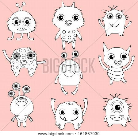A set of cute vector monsters or aliens clip art with black outline and white infill for coloring pages and digital stamps