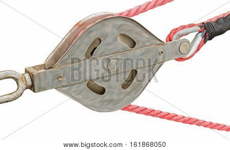 Yacht Pulley Blocks and Ropes on white background