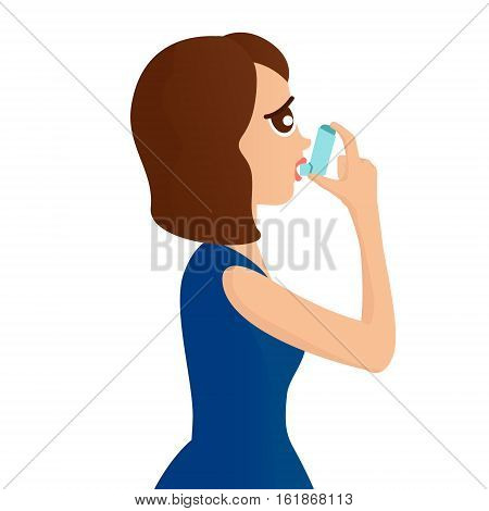 Woman using a spray inhaler to stop asthma attack. Asthma design template Bronchial asthma awareness concept. Vector illustration.