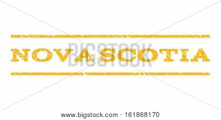 Nova Scotia watermark stamp. Text tag between horizontal parallel lines with grunge design style. Rubber seal stamp with unclean texture. Vector yellow color ink imprint on a white background.