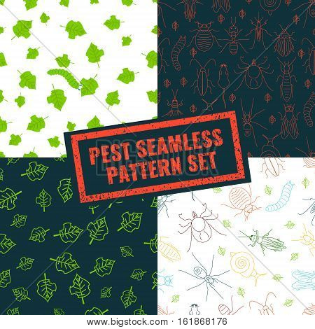 Seamless pattern set of pest insects and damaged leaves on black and white backgrounds. Parasitic beetle concept. Perfect for exterminator service and pest control companies. Vector illustration.
