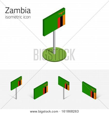 Zambian flag (Republic of Zambia) vector set of isometric flat icons, 3D style. African country flags. Editable design elements for banner, website, presentation, infographic, poster, map. Eps 10
