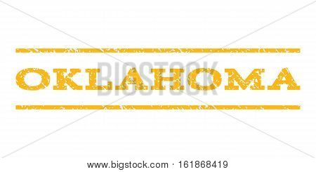 Oklahoma watermark stamp. Text caption between horizontal parallel lines with grunge design style. Rubber seal stamp with dust texture. Vector yellow color ink imprint on a white background.