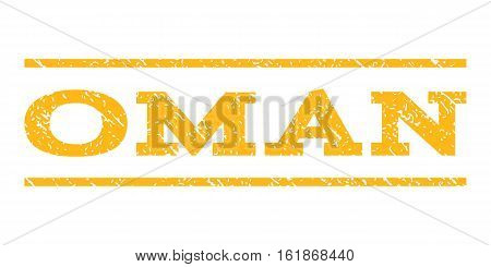 Oman watermark stamp. Text caption between horizontal parallel lines with grunge design style. Rubber seal stamp with dirty texture. Vector yellow color ink imprint on a white background.