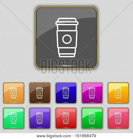 Coffee Cup Icon Sign. Set With Eleven Colored Buttons For Your Site. Vector