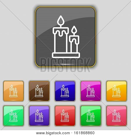 Candle Icon Sign. Set With Eleven Colored Buttons For Your Site. Vector