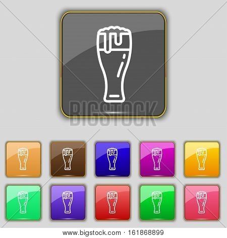 Beer Glass Icon Sign. Set With Eleven Colored Buttons For Your Site. Vector