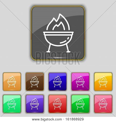 Grill Icon Sign. Set With Eleven Colored Buttons For Your Site. Vector