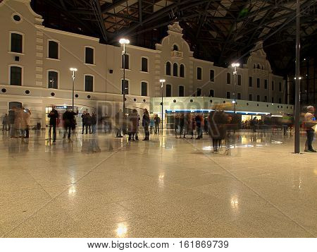 Railway Fabryczna. Lodz, Poland - December 11, 2016 Residents of Lodz, admire modern railway station Lodz Fabryczna with elements of the old architecture opened 11 December 2016 years.