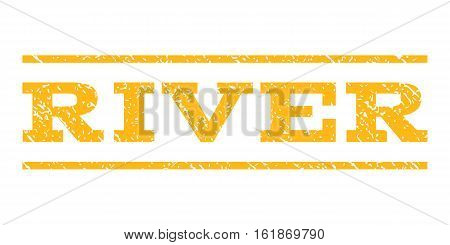 River watermark stamp. Text tag between horizontal parallel lines with grunge design style. Rubber seal stamp with unclean texture. Vector yellow color ink imprint on a white background.