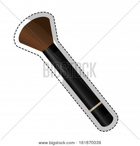 sticker of  brush makeup equipment icon over white background. vector illustration