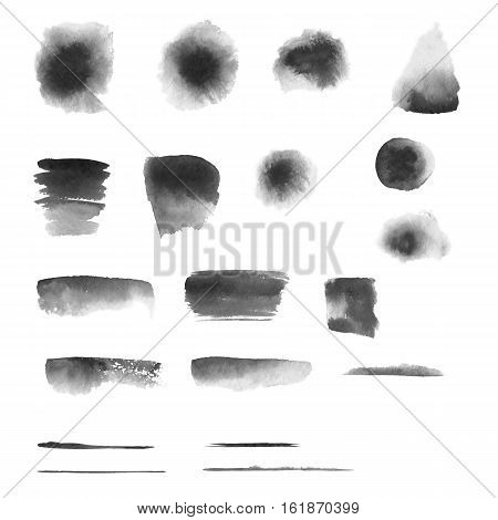 Set of hand-painted brush strokes. Black and white watercolor stripes isolated on white background. Grunge elements for design.