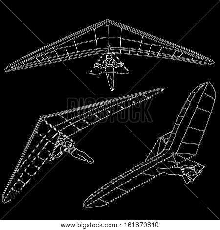 Hand glider image isolated on white background.