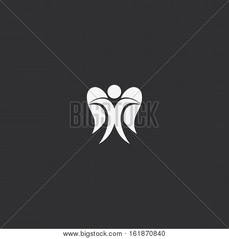 Isolated abstract white color angel on black background logo. Human with wings logotype. Heavenly creature silhouette icon. Saint soul vector illustration. Religious decorative symbol