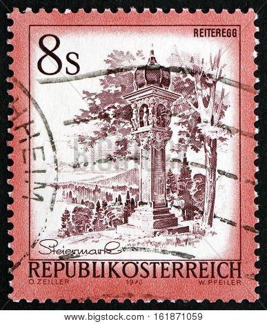 AUSTRIA - CIRCA 1977: a stamp printed in Austria shows Votive Column Reiteregg Styria circa 1977