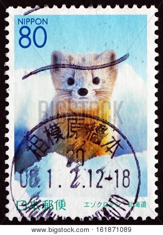 JAPAN - CIRCA 2001 a stamp printed in Japan shows Sable Martes Zibellina Carnivorous Mammal a Species of Marten circa 2001