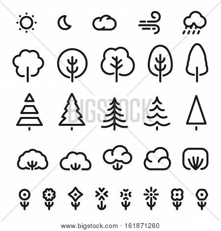 Isolated black color outlined coniferous trees, bushes, flowers and weather forecast signs in monochrome lines logo set. Simple flat vector illustrations of nature elements on white. Eco symbols