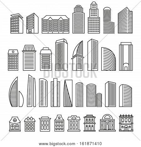 Isolated outlined in monochrome lines blocks of flats logo set. Vector skyscrapers illustration. Urban real estate signs for business brochure. Designed architecture logotypes. Building constructions