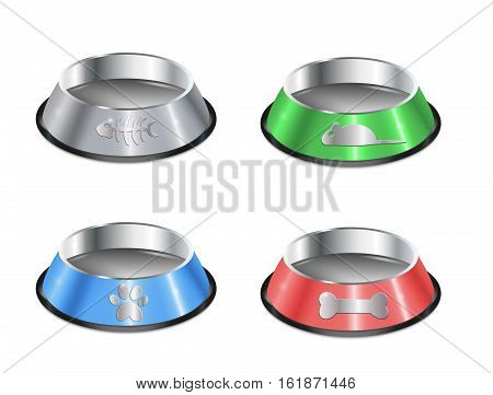 Set of pet dishes. Empty metallic cat plates. Collection of chrome shiny food bowls. Isolated pet supplies. Black edging. Vector EPS10 realistic illustrations.