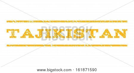 Tajikistan watermark stamp. Text caption between horizontal parallel lines with grunge design style. Rubber seal stamp with unclean texture. Vector yellow color ink imprint on a white background.