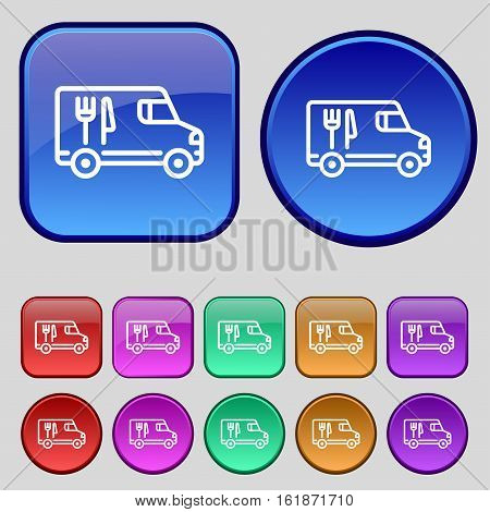 Food Truck Icon Sign. A Set Of Twelve Vintage Buttons For Your Design. Vector