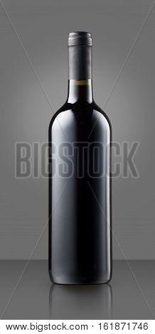Blank Full Capped Red Wine Bottle On Grey