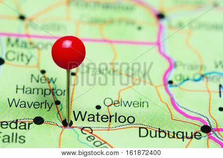 Waterloo pinned on a map of Iowa, USA
