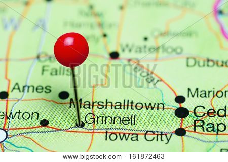 Grinnell pinned on a map of Iowa, USA