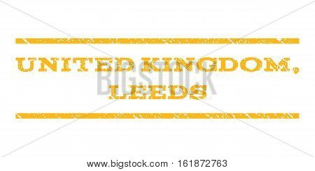 United Kingdom, Leeds watermark stamp. Text caption between horizontal parallel lines with grunge design style. Rubber seal stamp with scratched texture.