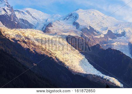 Mt. Blanc seen from Chamonix. Chamonix Auvergne-Rhone-Alpes France.