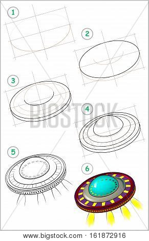Page shows how to learn step by step to draw flying saucer. Developing children skills for drawing and coloring. Vector image.
