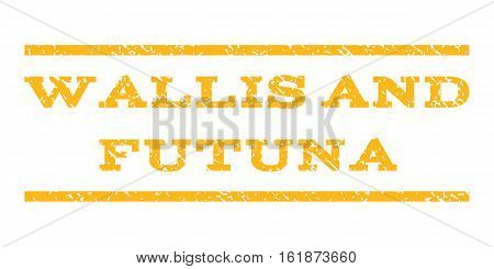 Wallis and Futuna watermark stamp. Text tag between horizontal parallel lines with grunge design style. Rubber seal stamp with scratched texture. Vector yellow color ink imprint on a white background.