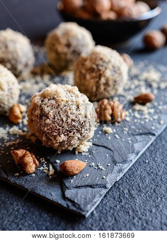 Sweet Balls With Walnut, Cocoa And Almond