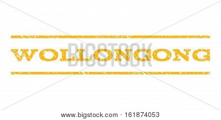 Wollongong watermark stamp. Text caption between horizontal parallel lines with grunge design style. Rubber seal stamp with dust texture. Vector yellow color ink imprint on a white background.