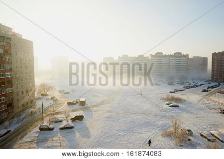 Russia, Zhukovsky, 16 Dec 2016: new year's Eve. Suburban town in the fog on a cold winter day. The sleeping area