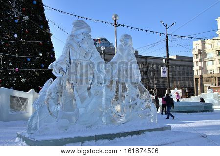 Chelyabinsk RUSSIA: Ice sculptures on the town Square