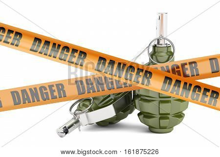 Danger caution barrier tapes with two grenades 3D rendering isolated on white background