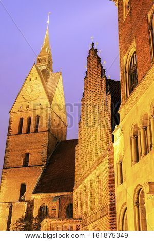 Marktkirche and Old Town Hall in Hanover. Hanover Lower Saxony Germany.