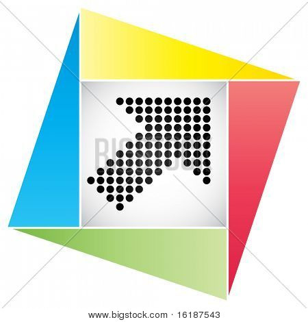 (raster image of vector) button with dots arrow poster