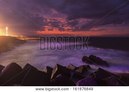 Puerto de la Cruz Lighthouse. Puerto de la Cruz Tenerife Canary Islands Spain.