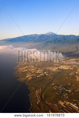 Aerial view of Tenerife with Teide Volcano. Tenerife Canary Islands Spain.