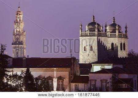 Clerics tower in Porto and Se Cathedral. Porto Norte Portugal.