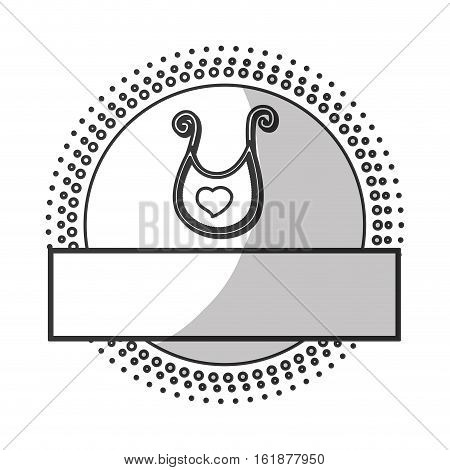 seal stamp with baby bib icon over white background. vector illustration