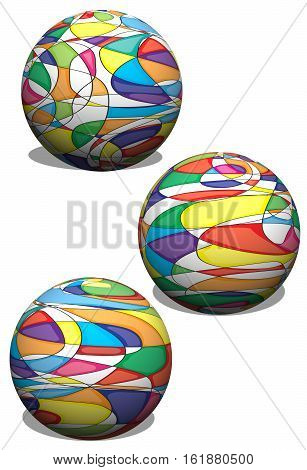 3 Dimensional Spheres with a colorful abstract pattern