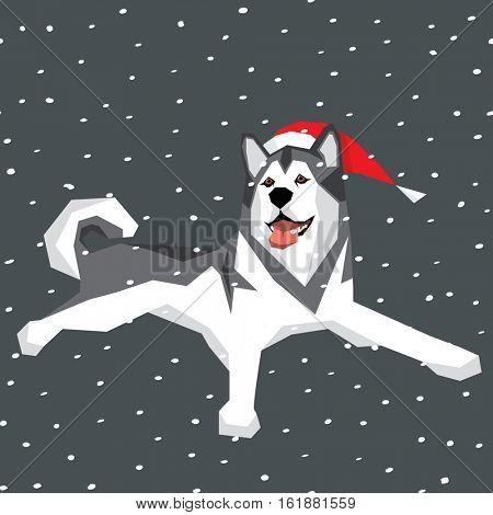 Vector polygon dog collection. Alaskan Malamute dog in Christmas Santa hat.